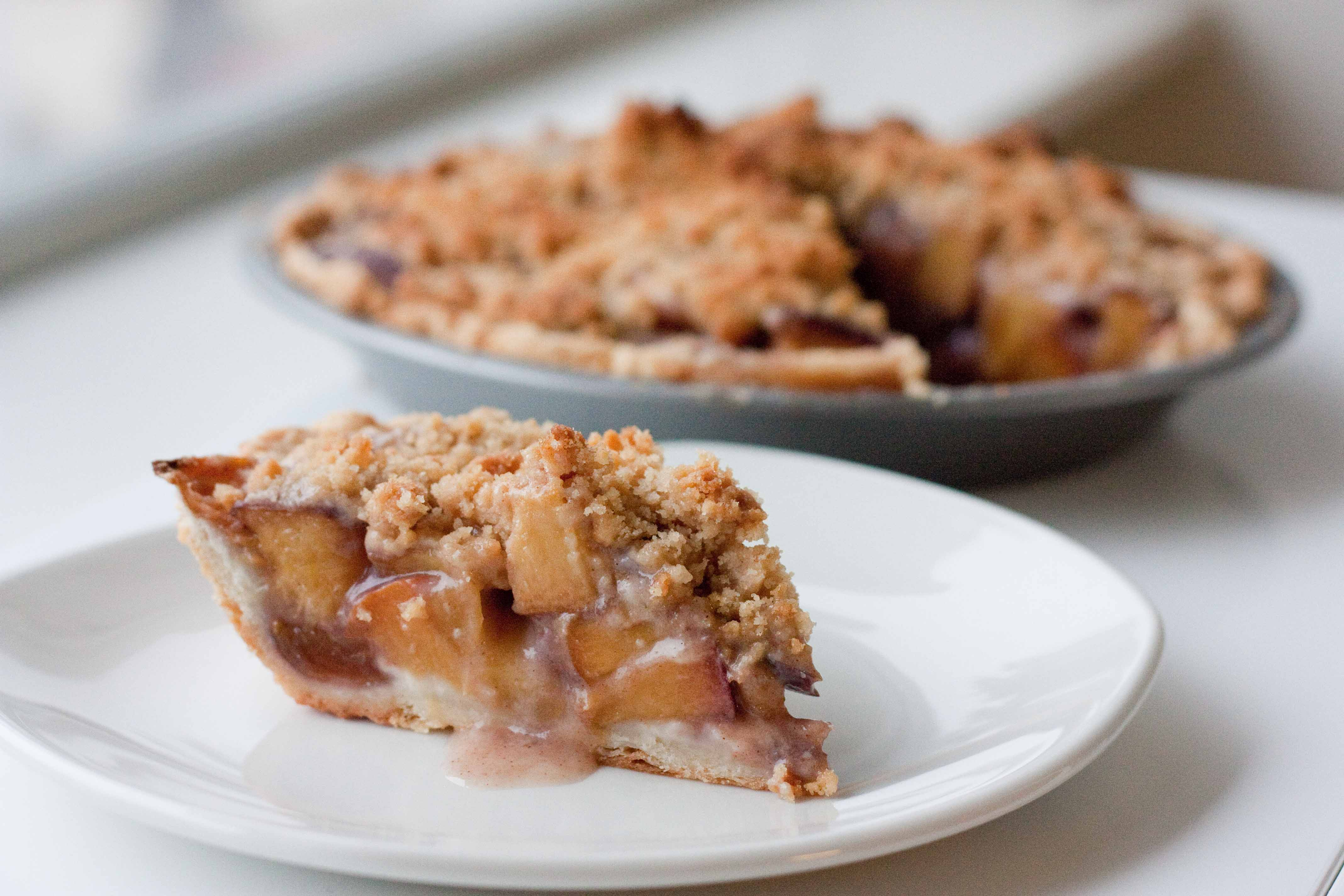 Bourbon Peach Pie with Crumble Topping | Foodologie