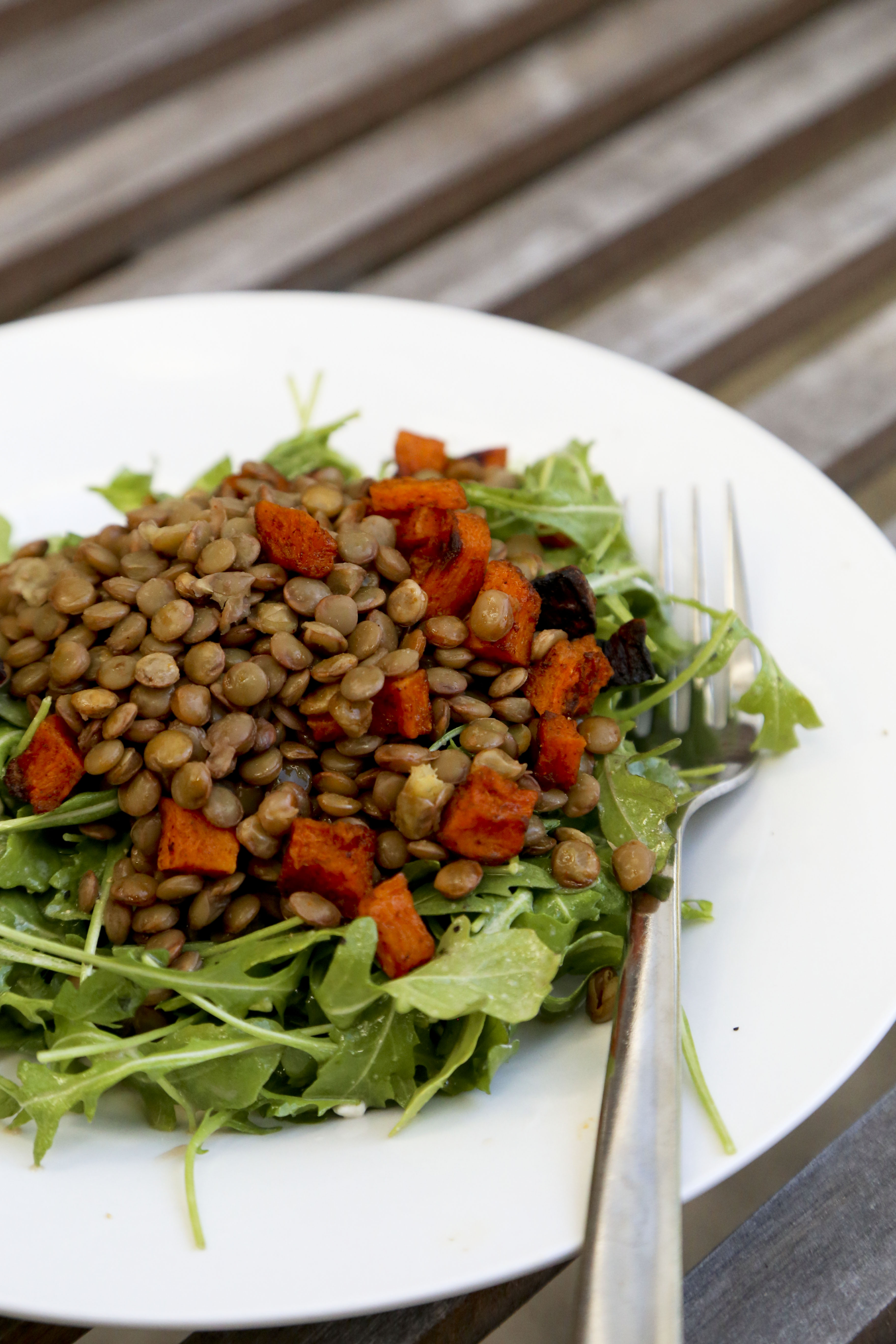 Arugula Salad with Lentils and Spiced Butternut Squash ...