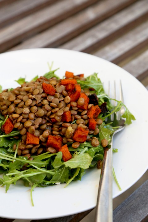Arugula Salad with Lentils and Spiced Butternut Squash1